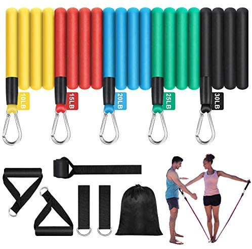 Fitnop Fitness Exercise Resistance Bands Set, Home Gym Elastic Tubes Accessories, Men Women Workout Band Equipment, Full Body Training, Strength, Slim, Yoga, Physical Therapy