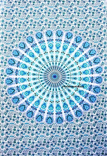Future Handmade Twin Size Indian Handmade Psychedelic White Blue Mandala Tapestry Living Home Decor Picnic Beach Blanket Yoga Mat Wall Hanging Hippies Tapestry 100% Cotton Room Decor Bedspread