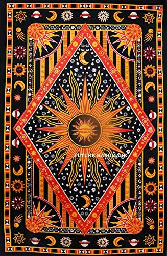 Future Handmade Twin Size Sun Moon Star Popular Tapestry Indian Galaxy Bed Sheet Wall Hanging Beach Blanket Hippies Tapestries Living Home Decor 100% Cotton Bedspread