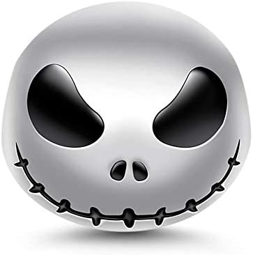 "GNOCE ""Jack Skull"" Charms 925 Sterling Silver Skull Beads Charms with Black Eyes fit Bracelets Necklaces Halloween Jewelry Gift for Women Girls"