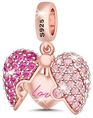 """GNOCE""""Surprising Love"""" Charm Pendant 925 Sterling Silver Rose Gold Open Heart Dangle Charms for Women For Bracelets Necklace Gift for Her"""