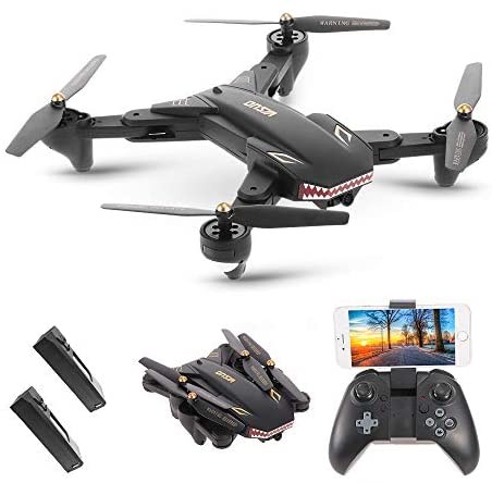 Goolsky VISUO XS809S RC Drone with 2.0MP Wide Angle Camera Quadcopter Wifi FPV Foldable One Key Return Altitude Hold G-sensor with One Extra Battery (Two batteries)