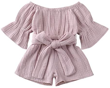 Hailouhai Toddler Baby Girl Off-Shoulder Romper Jumpsuit,Summer Flare Sleeve Shorts Overall with Belt Clothes Outfits