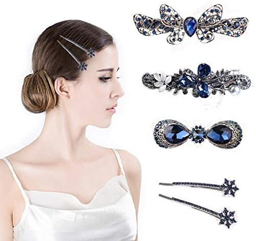 Hair Clips Retro Vintage French Silver Crystal Barrette 5 PCS Hairpins Grip Vintage Hair Clips Bronze Non-slip Hair Barrettes and Hair Styling Accessories for Women, Girls and Gifts