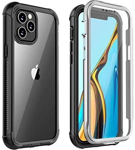 Huakay for iPhone 12 Pro Max Case 5G, Built-in Screen Protector Full Body Protection Heavy Duty Shockproof Case for iPhone 12 Pro Max 6.7 inch 5G(Black/Clear)