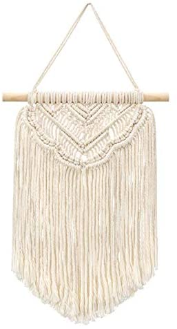 JAHEMU Macrame Wall Hanging Tapestry Boho Decor Handmade Cotton for Dining Room Wall, Living Room Decoration, Bedroom, Kitchen Art Decor (Beige)