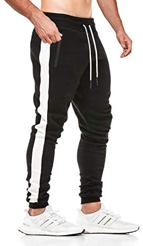 JustSun Mens Joggers Stripe Design Sports Trousers with Zip Pockets