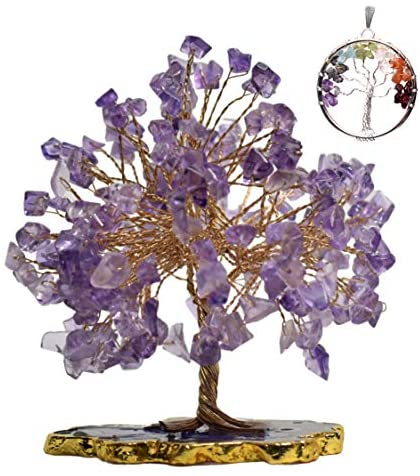 KACHVI Crystals And Gemstones Healing Amethyst Crystal Gemstones Tree Money Tree For Healing Reiki Yoga Slice Base Tree for Home Office Decor Crystal Ornaments for Living Room Size 5-6 inch