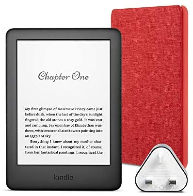 Kindle Essentials Bundle includes Kindle E-Reader (Black) with Special Offers, Amazon Fabric Cover (Punch Red) and Amazon 5W Power Adaptor