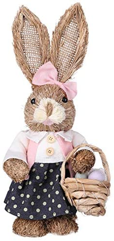 LYEAA Straw Easter Rabbit, 12 inch Standing Bunny with Carrot, Handmade Figurine for Easter Home Decorations Statue, Photography Props, Easter Gift