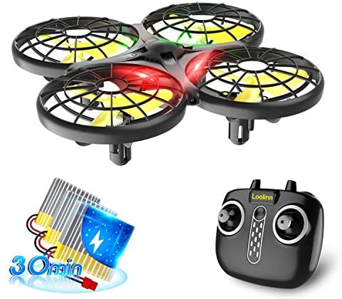 Loolinn | Drone for kids – Mini Drone, Indoor RC Drones with Auto Anti-Collision Technology / 360° Flip / Hand-Controlled Mode / 30 Minutes Flight Time ( Three Batteries Included )