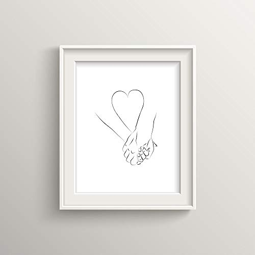Love, Minimalist print, heart, wall art, home decor print, print, holding hands, lower, line art, love picture, black and white, UNFRAMED