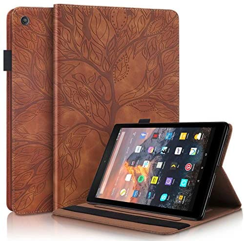 MISSDU Compatible with Case for Amazon Fire HD 10 Tablet (7th and 9th Generations, 2017 and 2019 Releases) PU Leder Wallet Cover BookStyle Flip Stand Function Card Slot and Pen Holder Brown