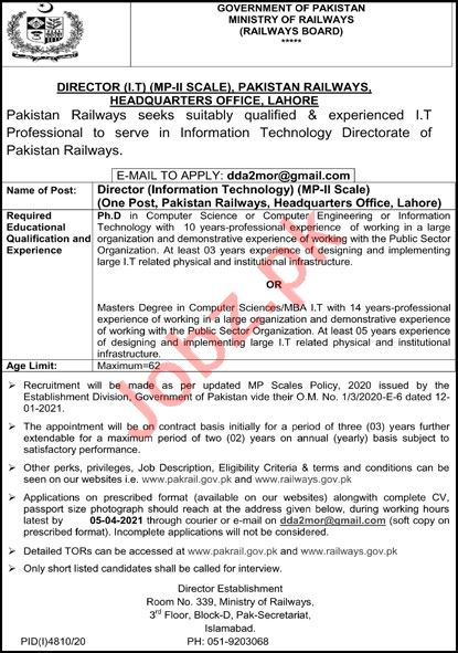 Ministry of Railways Islamabad Jobs 2021 for Director