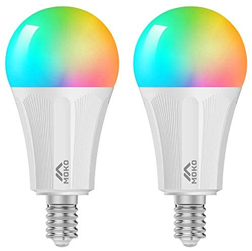 MoKo Smart WiFi LED Light Bulb, 2 Pack E14 9W Dimmable Light Warm White, Compatible with SmartThings/Alexa Echo/Google Home for Voice Control Remote Control with Timer Function,No Hub Required – White