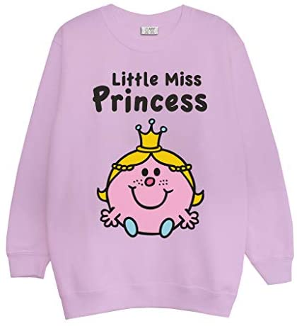 Mr Men & Little Miss Princess Girls Crewneck Sweatshirt | Official Merchandise | Ages 3-13, Childrens Clothes, Toddlers to Teens, Long Sleeved Girls Top, Birthday Gift Idea for Daughter Sister Niece
