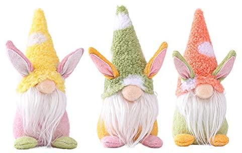 Nd Easter Gnomes Plush Decorations, Handmade Easter Bunny Gnome Plush Doll Room Desktop Decoration, Cute Easter Collectible Elf Dwarf Doll Ornaments Home Decor Holiday Party Gifts (Multicolor, 3Pcs)