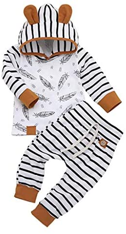 Newborn Toddler Baby Boys Girls Outfits Striped Feather Print Romper Pants Hat Clothes 3Pcs Set