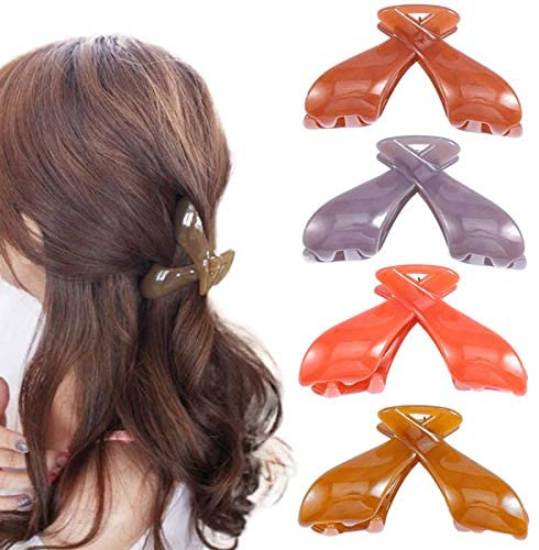 Nicute Hair Claw Clips Purple Jaw Clamp Nonslip Strong Hold Clamp Grip Hair Claw Clamp Hair Accessories for Women and Girls (Pack of 4)