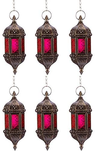 Nuptio 6 Pcs Hanging Hexagon Decorative Moroccan Candle Lantern Holders, Handmade Hanging Tea Light Holder in Bronze Metal & Red & Purple Glass Gift & Decor Items