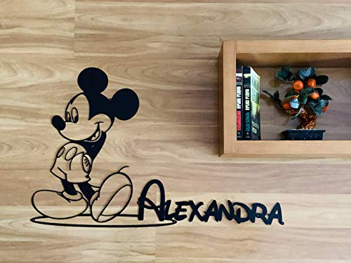 Personalised Mickey Mouse Sign Minnie Mouse Silhouette Custom Name Sign Metal Wall Art Disney Wall Hanging Plaque Gift for Kids Baby Room Nursery Wall Decor Home Decorations Handmade Birthday Present