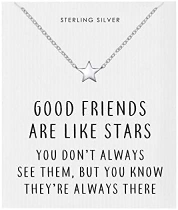Philip Jones Sterling Silver Friendship Quote Star Necklace