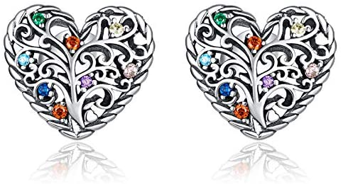 Qings Tree of Life Earrings Heart Studs, 925 Sterling Silver Earrings Cubic Zirconias Studs with Gift Box, Jewellery Gifts For Her Women Girls Teen Engagement Birthday Anniversary
