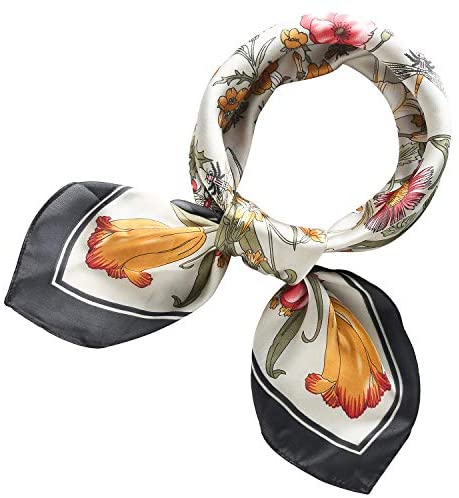 RIIQIICHY Women's 70cm Like Silk Satin Square Floral Print Hair Head Small Scarf Neckerchief