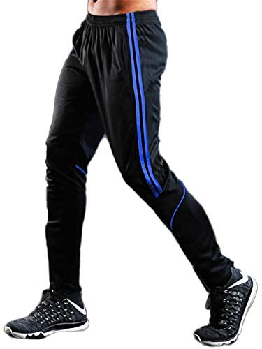 RIOJOY Black Joggers Sweatpants for Men, Sport Tracksuit Bottoms with Zipper Pocket, Casual Stripe Slim Workout Trousers