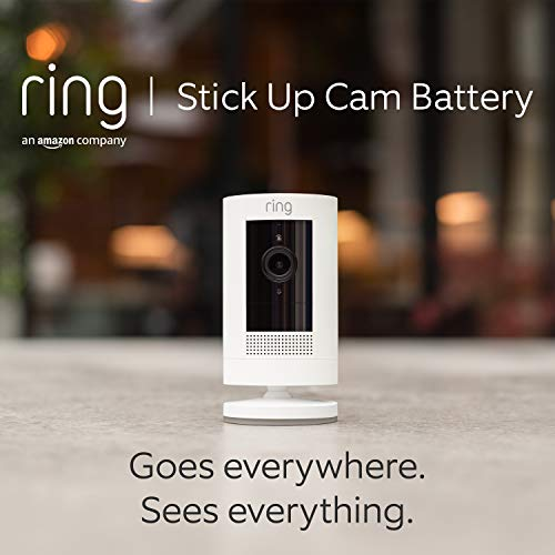 Ring Stick Up Cam Battery | HD security camera with Two-Way Talk, Works with Alexa | With 30-day free trial of Ring Protect Plan | White