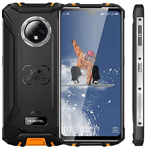 Rugged Smartphone, 2021 OUKITEL WP8 Pro Waterproof Mobile Phone, 6.49 inches 4GB 64GB Triple Camera Face/Fingerprint ID, 5000mAh Battery Android 10 Smartphone (Orange)