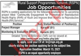 Rural Support Programmes Network RSPN Karachi Jobs 2021