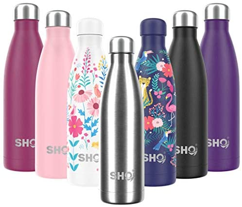 SHO Bottle – Ultimate Insulated, Double Walled Stainless Steel Vacuum Flask & Water Bottle – 12 Hours Hot & 24 Hours Cold – 260ml, 350ml, 500ml, 750ml & 1000ml – BPA Free – Lifetime Guarantee