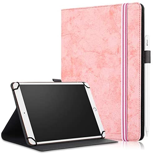 "SINSO Universal Case for 9-11 Inch Tablet, Stand Folio Case Cover for All 9-11"" Tablets (Samsung Tab 9.6/10.1/10.5, iPad 9.7-11"", Lenovo Dragon Touch 10"", Huawei 10.1-10.8, Fire HD 10), Pink"