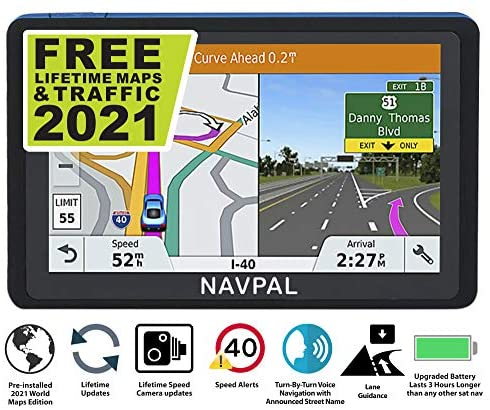 SLIMLINE SAT NAV, (7 INCH) with 2021 UK & WORLD MAPS EDITION + FREE Lifetime Updates [100% no hidden fees], GPS Navigation for Car Truck Motorhome, Features Postcodes, Speed Cam Alerts, Lane Guidance