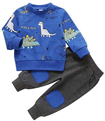 SUSSURRO Baby Boy Dinosaur Outfit Toddler Baby Boy Dinosaur Sweatshirt Clothes