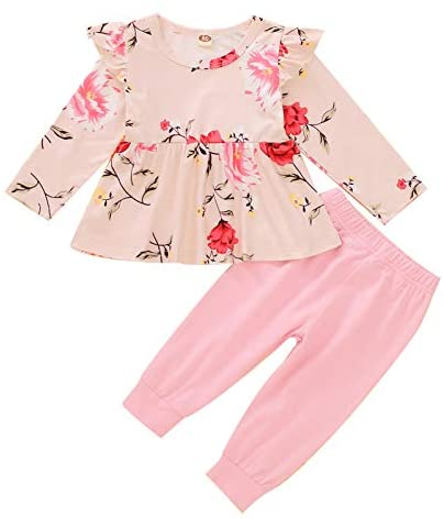 SUSSURRO Toddler Baby Girl Outfit Infant Girls Long Sleeve Top Pant Set Clothes