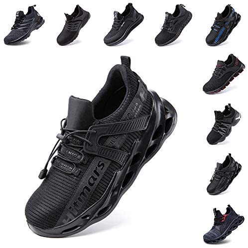 Safety Shoes Men Lightweight Women Work Trainers Ladies Steel Toe Cap Shoe Puncture Proof Protective Footwear Sport Sneakers Black Blue Grey Size 3.5-13 UK