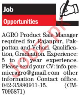 Sales Manager & Marketing Manager Jobs 2021 in Lahore