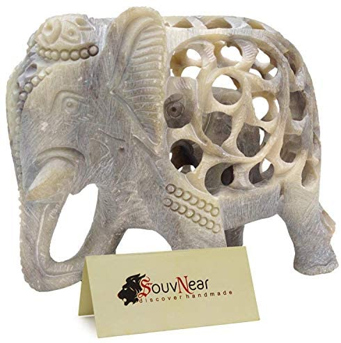 Shalinindia – Stone Elephant Statue – Elephant Decor – Impossible Stone Art Sculpture – 5 Inch Handmade Soapstone Figurine of Mother Elephant with Baby Inside