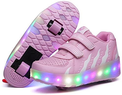 Skybird-UK Unisex LED Roller Skate Shoes with Double Wheels Inline Retractable Technical Skateboarding Shoe Outdoor Sport Cross Trainers Vibration Flashing Sneaker for Birthday Halloween Christmas