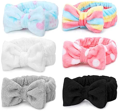 Spa Headband – 6 Pack Bowknot Hair Bands Makeup Head band Women Coral Fleece Elastic Headband Washing Face Hair Wrap For Facial Cosmetic Shower Yoga Sports (Multi-colored D)