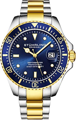 Stuhrling Original Mens Dive Watch – Pro Sport Diver with Screw Down Crown and Water Resistant to 330 Ft. – Analog Dial, Quartz Movement – Depthmaster Watches for Men Collection