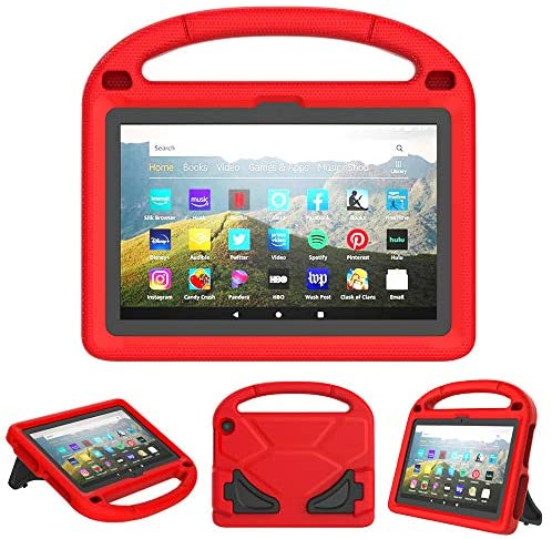Surom Kids Case for All-New Amazon Fire HD 8/ Fire HD 8 Plus (10th Generation, 2020 Release) - Light Weight Shockproof Handle Foldable Stand Kids Friendly Case for All-New Fire HD 8 Tablet, Red