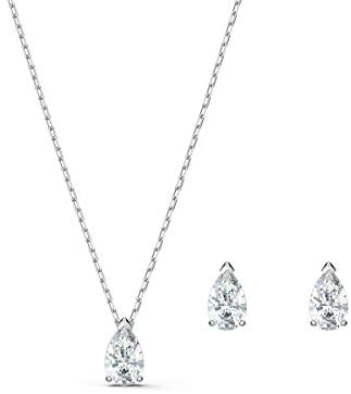 Swarovski Attract Pear Jewellery Set, Women's Drop-Shaped Pendant Necklace and Matching Stud Earrings with White Crystals in a Rhodium Plated Setting