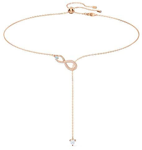 Swarovski Infinity Y Necklace, Brilliant White Crystals with Elegant Rose-Gold Tone Plated Metal, from the Swarovski Infinity Collection