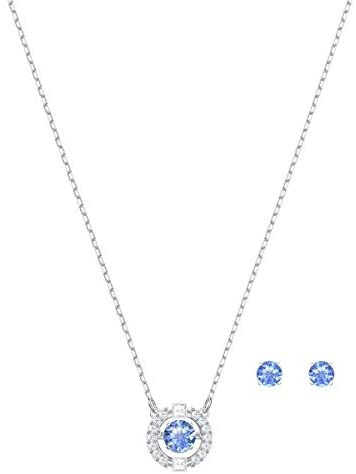 Swarovski Sparkling Dance Round Jewellery Set – Women's Swarovski Necklace and Earring Pair with White and blue Crystals in a Rhodium Plating