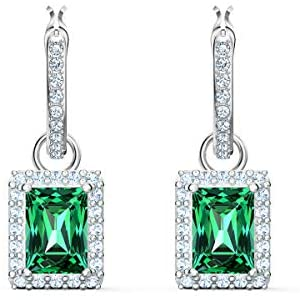 Swarovski Women's Angelic Hoop Pierced Earrings, Set of Brilliant White and Green Swarovski Rectangular Earrings with Rhodium Plating