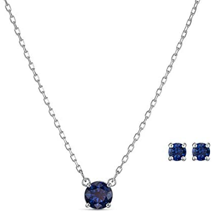 Swarovski Women's Attract Round Jewellery Set, Earrings and Necklace with Brilliant Crystals, from the Swarovski Attract Collection