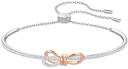 Swarovski Women's Lifelong Bow Bangle Bracelet, Brilliant White Crystals with Mixed Metal, from the Swarovski Lifelong Bow Collection